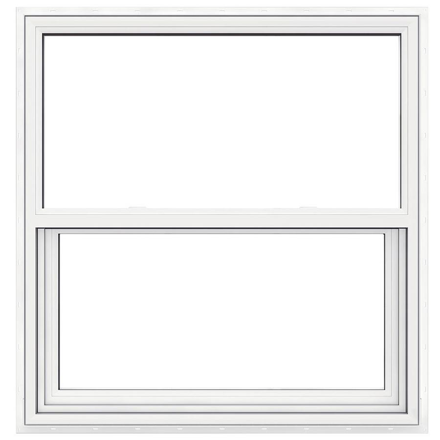 Two Single Hung Windows : Shop jeld wen premium atlantic vinyl double pane impact