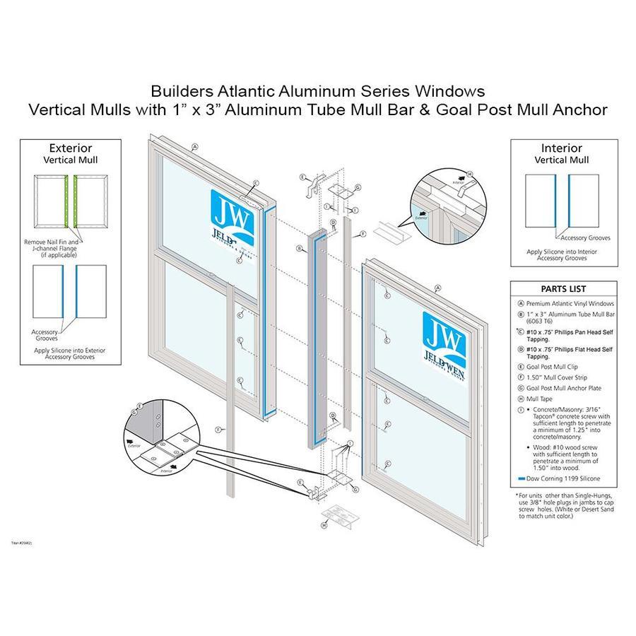 JELD-WEN 35.5-in White Aluminum Mull Bar and Clips