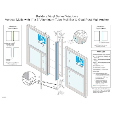 Jeld Wen 35 5 In White Vinyl Mull Bar And Clips At Lowes
