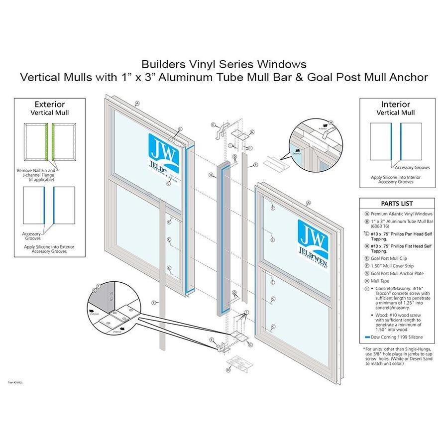 JELD-WEN 47.5-in White Aluminum Mull Bar and Clips