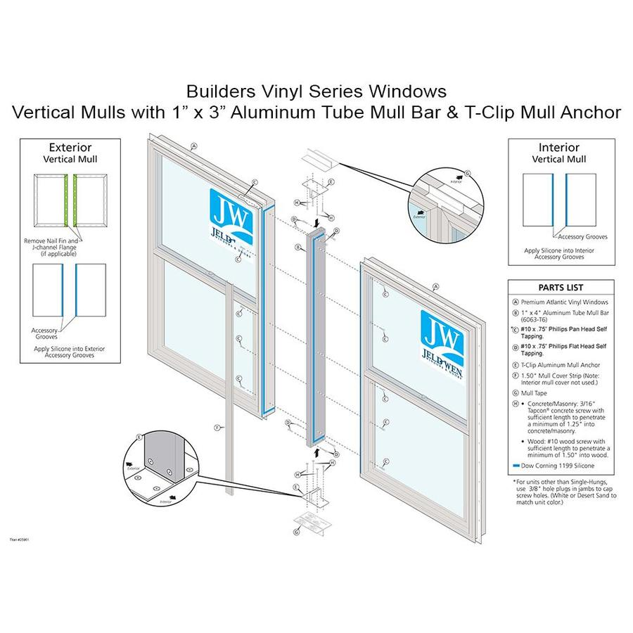JELD-WEN 61.75-in White Aluminum Mull Bar and Clips