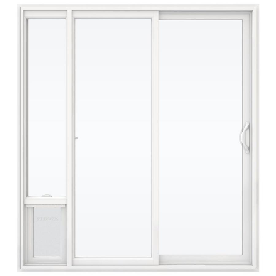 JELD-WEN V-2500 71.5-in 1-Lite Glass White Vinyl Sliding Patio Door with Screen