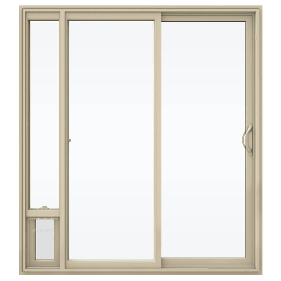 Shop jeld wen v 2500 71 5 in 1 lite glass almond vinyl for Sliding glass doors jeld wen