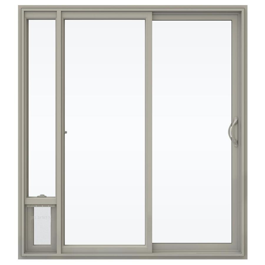 JELD-WEN V-2500 71.5-in 1-Lite Glass Desert Sand Vinyl Sliding Patio Door with Screen