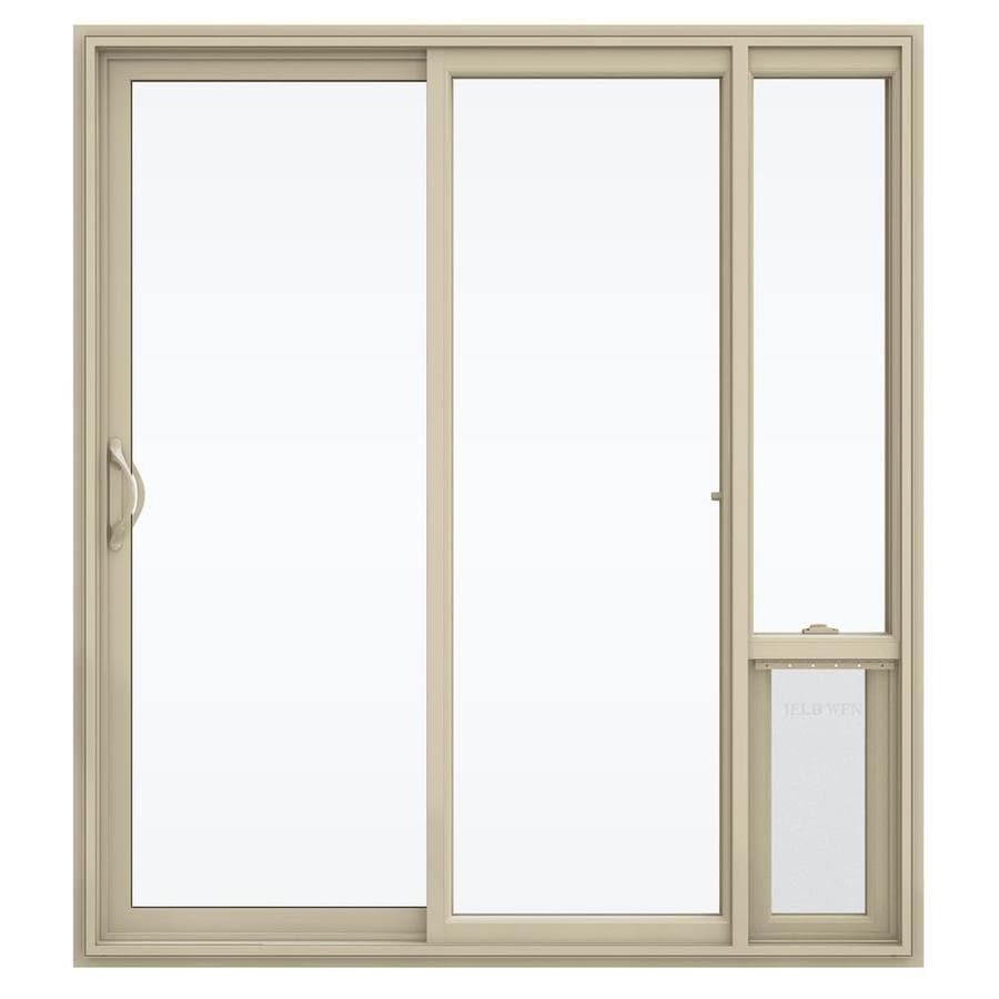 Shop jeld wen 71 5 in x 79 5 in clear glass left hand for Bifold door screens