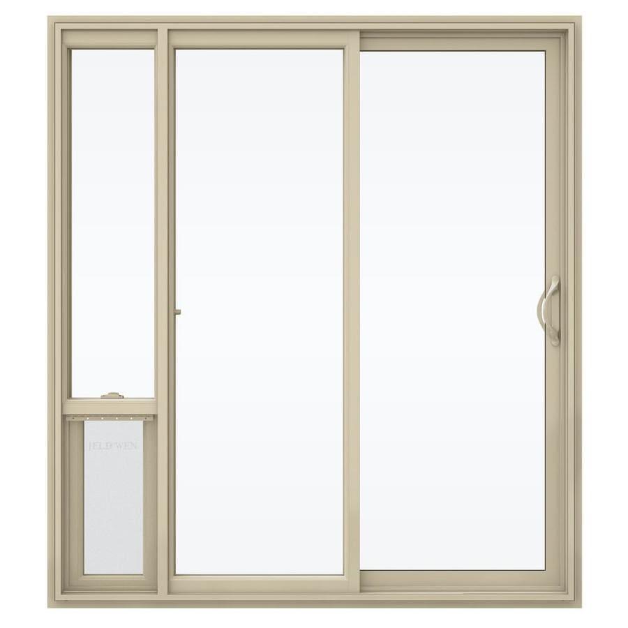 JELD-WEN V-2500 71.5-in x 79.5-in Right-Hand Vinyl Sliding Patio Door with Screen