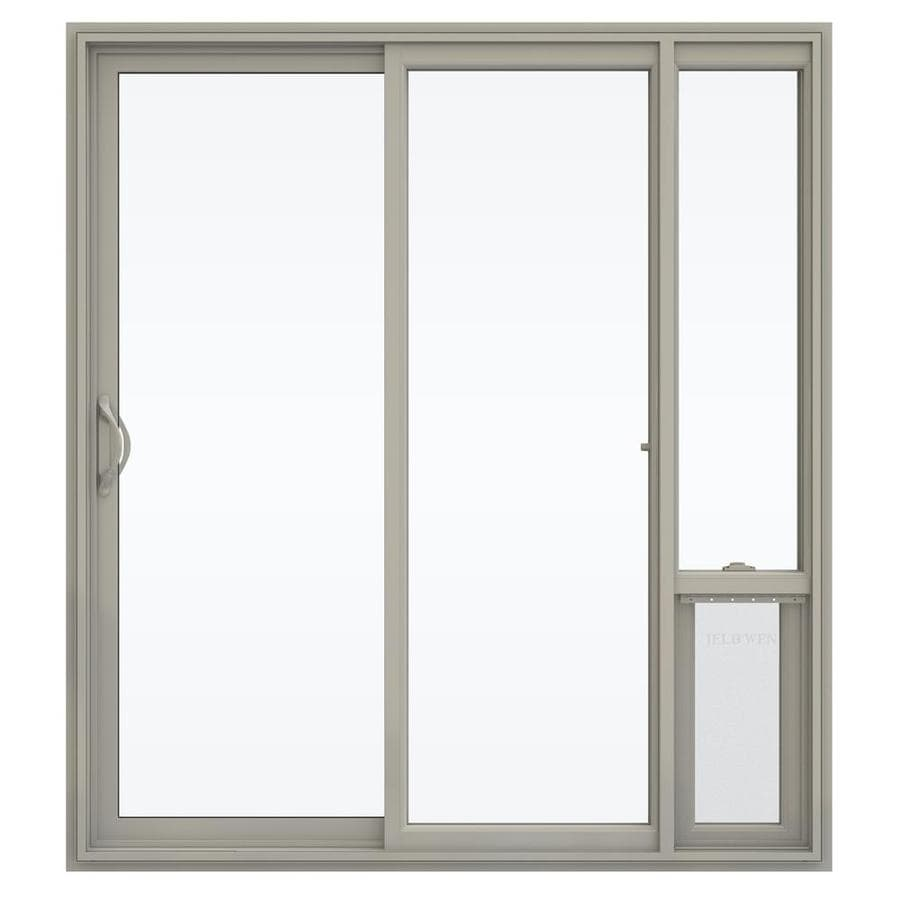 Shop jeld wen v 2500 71 5 in 1 lite glass desert sand for Sliding glass doors jeld wen