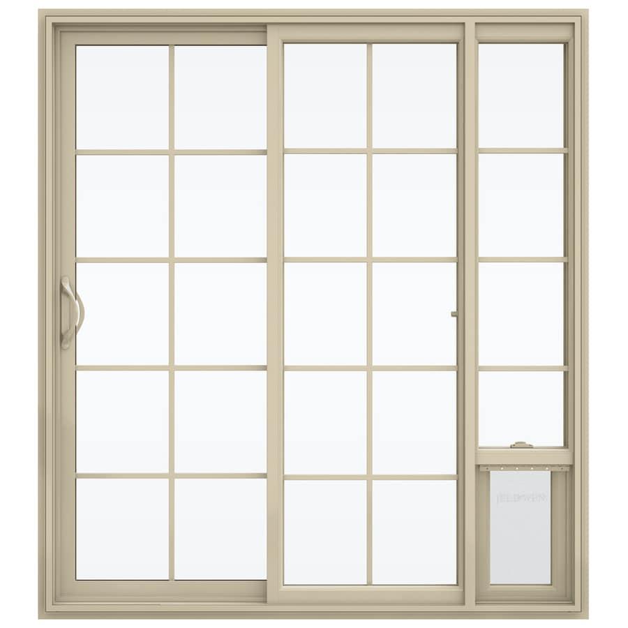 JELD-WEN V-2500 71.5-in 15-Lite Glass Almond Vinyl Sliding Patio Door with Screen