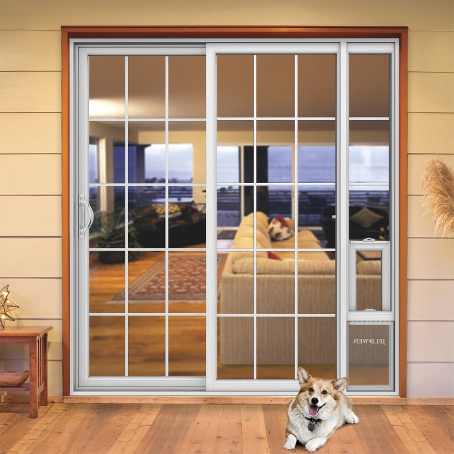 JELD-WEN V-2500 71.5-in x 79.5-in Left-Hand White Vinyl Sliding Patio Door with Screen