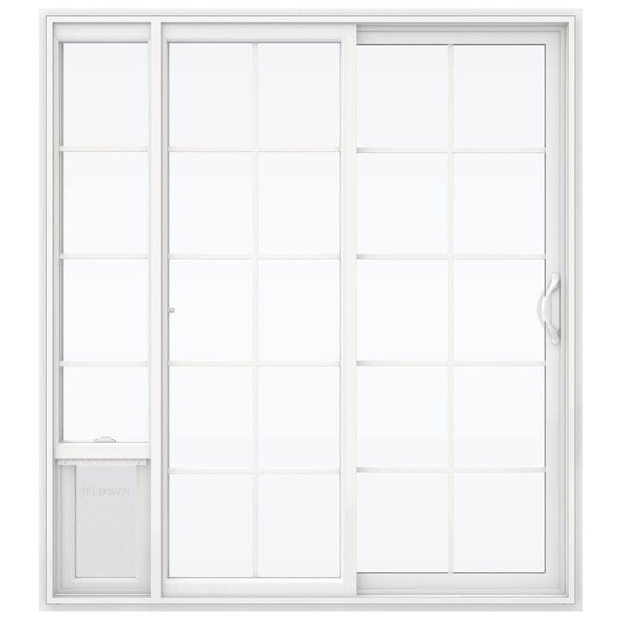 Shop jeld wen 71 5 in x 79 5 in grilles between the glass for White sliding patio doors