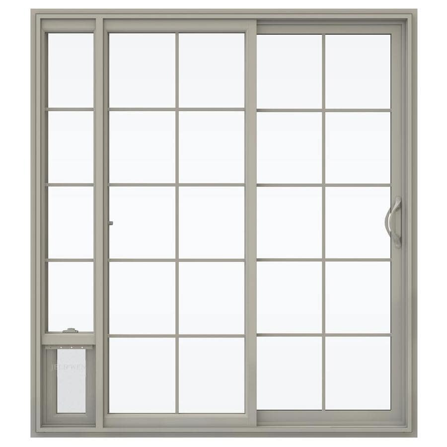 JELD-WEN V-2500 71.5-in x 79.5-in Right-Hand Vinyl Sliding Patio Door with Screen