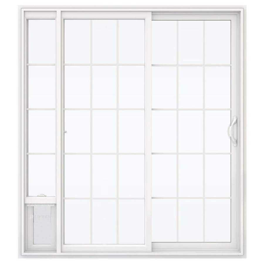 JELD-WEN V-2500 71.5-in 15-Lite Glass White Vinyl Sliding Patio Door with Screen