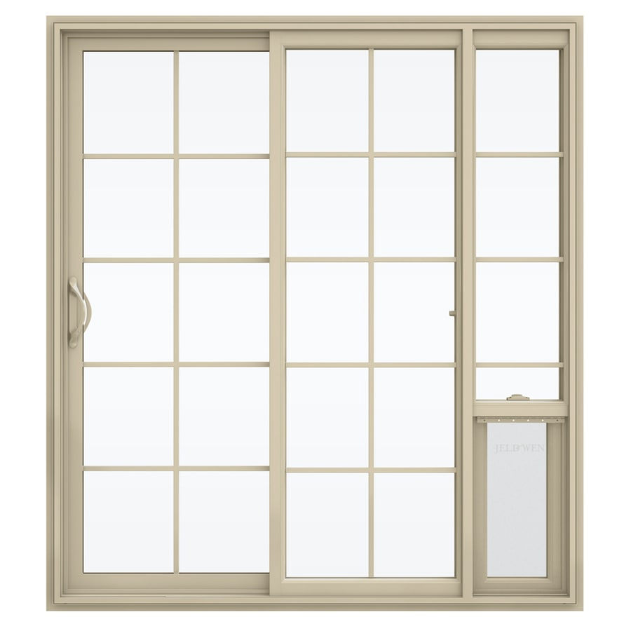 JELD-WEN V-2500 71.5-in x 79.5-in Left-Hand Vinyl Sliding Patio Door with Screen