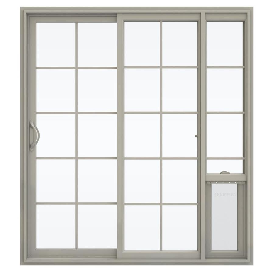 JELD-WEN V-2500 71.5-in x 79.5-in Left-Hand Vinyl Sliding Patio Door with Screen