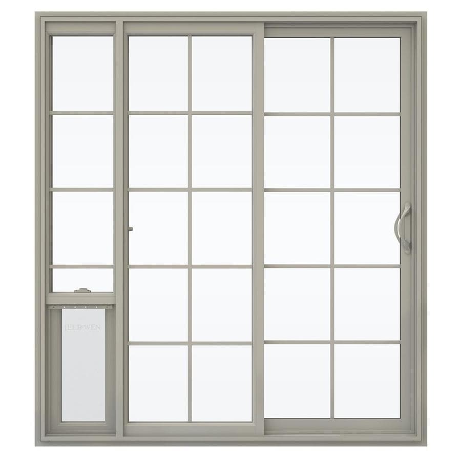 JELD-WEN V-2500 71.5-in 15-Lite Glass Desert Sand Vinyl Sliding Patio Door with Screen