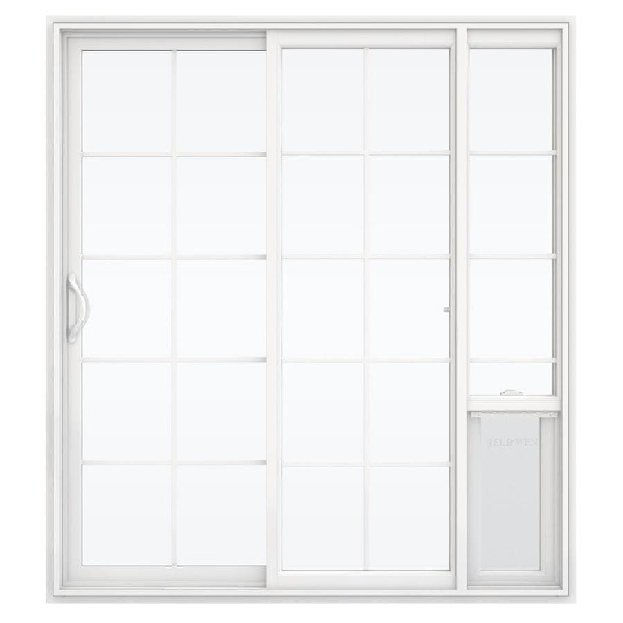 shop jeld wen v 2500 71 5 in 15 lite glass white vinyl sliding patio door with screen at. Black Bedroom Furniture Sets. Home Design Ideas
