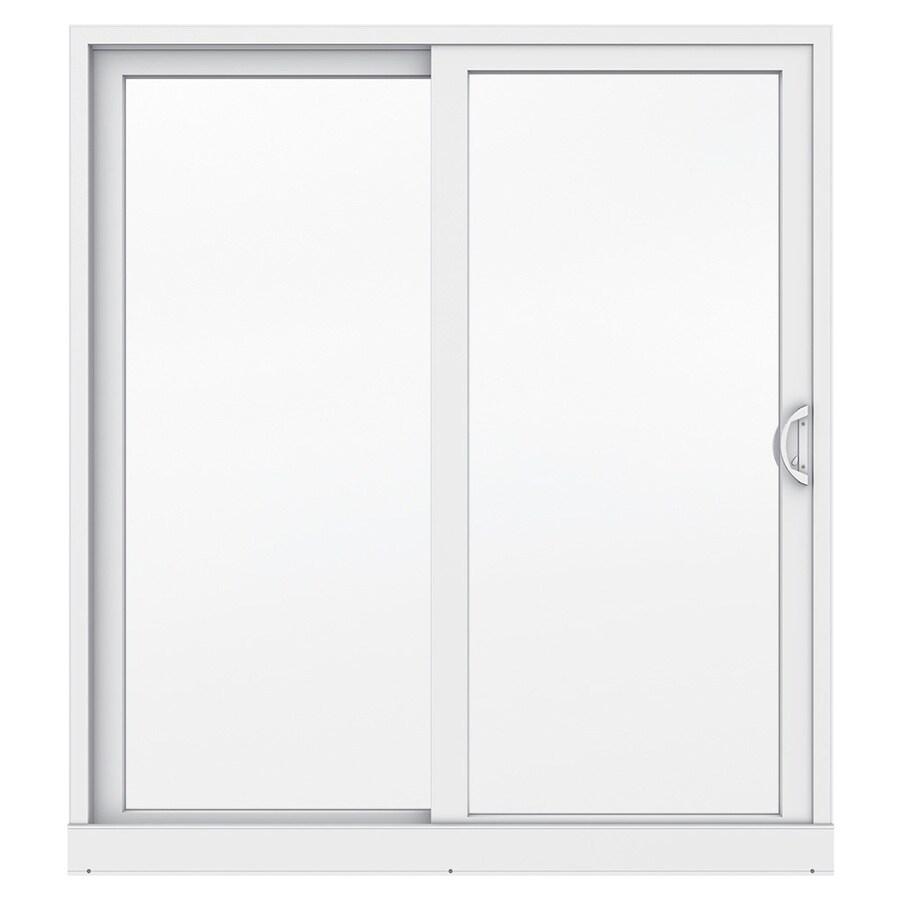 JELD-WEN Premium Atlantic 71.5-in x 79.5-in Right-Hand White Vinyl Sliding Patio Door with Screen