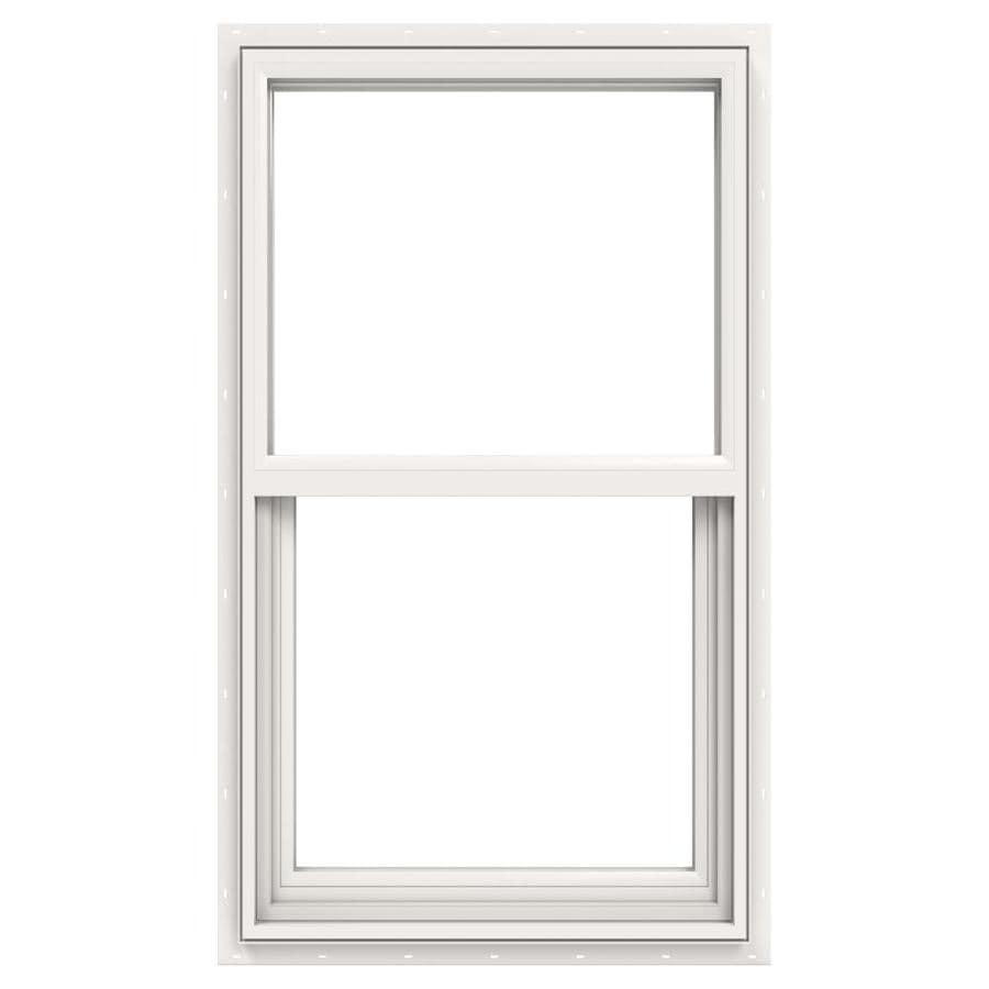 JELD-WEN Builders Vinyl Vinyl Double Pane Annealed New Construction Single Hung Window (Rough Opening: 24-in x 36-in; Actual: 23.5-in x 35.5-in)
