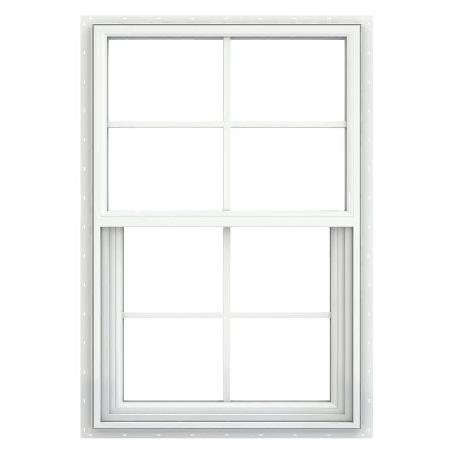 JELD-WEN Builders Vinyl Double Pane Annealed New Construction Single Hung Window (Rough Opening: 24-in x 36-in; Actual: 23.5-in x 35.5-in)