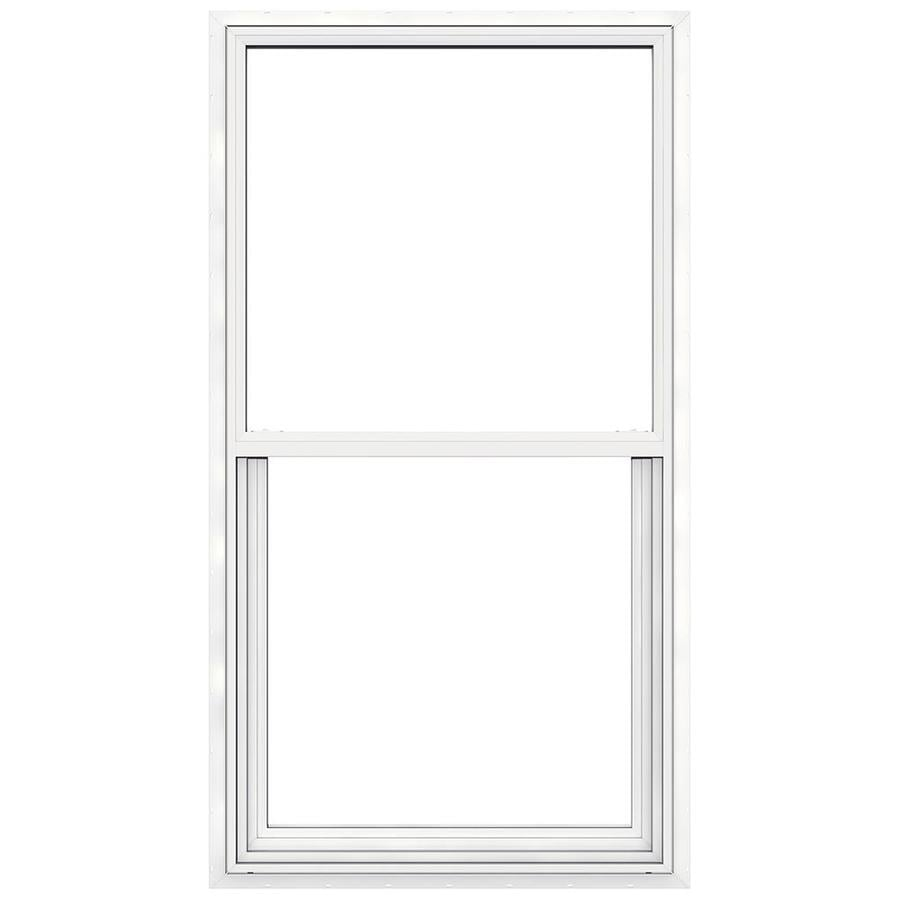 JELD-WEN Builders Vinyl Vinyl Double Pane Annealed New Construction Egress Single Hung Window (Rough Opening: 32-in x 60-in; Actual: 31.5-in x 59.5-in)