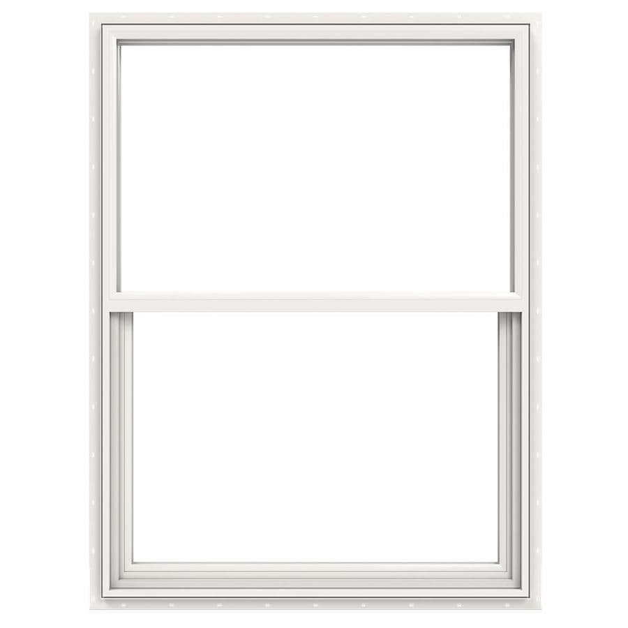 JELD-WEN Builders Vinyl Vinyl Double Pane Annealed New Construction Single Hung Window (Rough Opening: 36-in x 48-in; Actual: 35.5-in x 47.5-in)