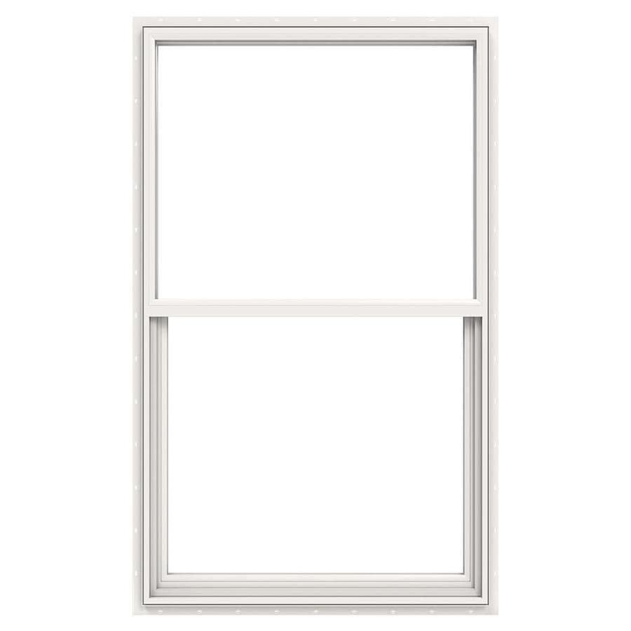 JELD-WEN Builders Vinyl Vinyl Double Pane Annealed Single Hung Window (Rough Opening: 36-in x 52-in; Actual: 35.5-in x 51.5-in)