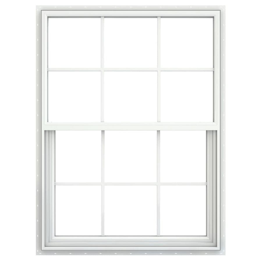 JELD-WEN Builders Vinyl Vinyl Double Pane Annealed Single Hung Window (Rough Opening: 36-in x 52-in; Actual: 35.5-in x 51.5-in)