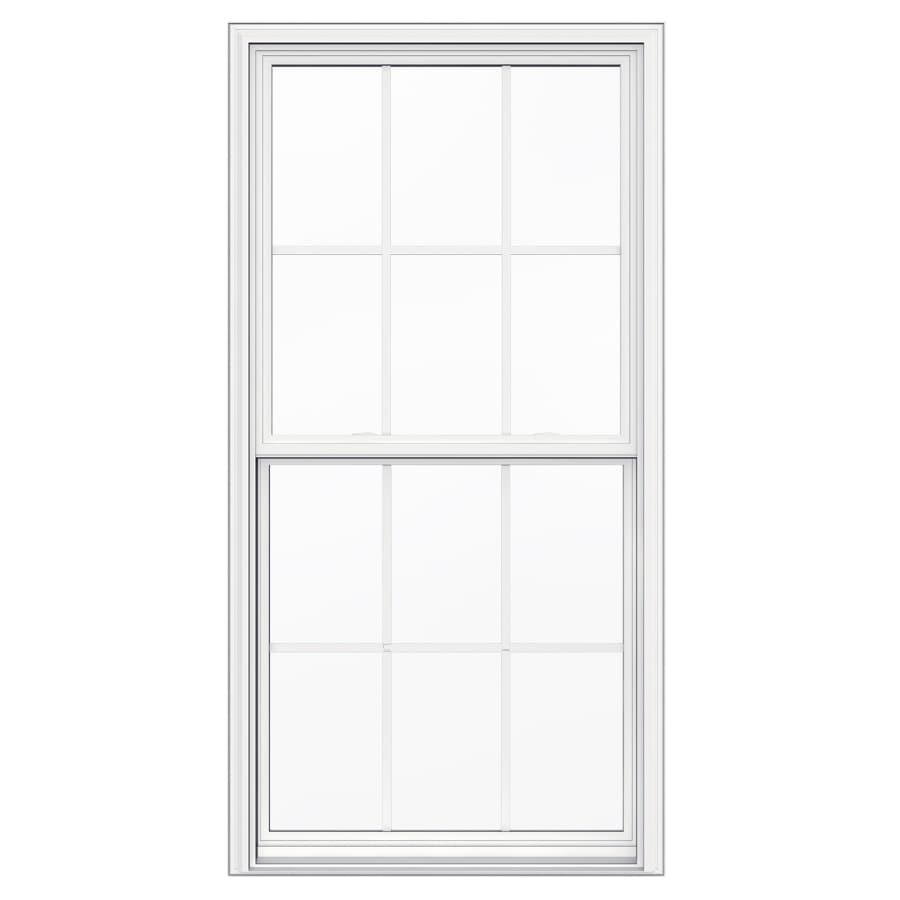 JELD-WEN Builders Vinyl Vinyl Double Pane Annealed New Construction Egress Single Hung Window (Rough Opening: 36-in x 72-in; Actual: 35.5-in x 71.5-in)