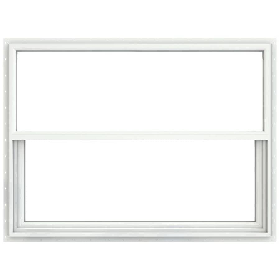 JELD-WEN Builders Vinyl Double Pane Annealed Single Hung Window (Rough Opening: 36.25-in x 25.25-in; Actual: 35.75-in x 24.75-in)