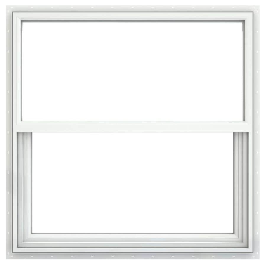 JELD-WEN Builders Vinyl Double Pane Annealed Single Hung Window (Rough Opening: 36.25-in x 37.625-in; Actual: 35.75-in x 37.125-in)