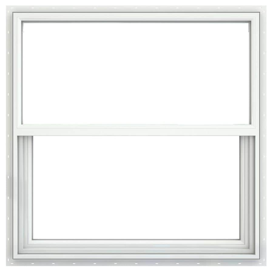 JELD-WEN Builders Vinyl Double Pane Annealed Single Hung Window (Rough Opening: 36.25-in x 37.625-in; Actual: 35.75-in x 37.125-in)