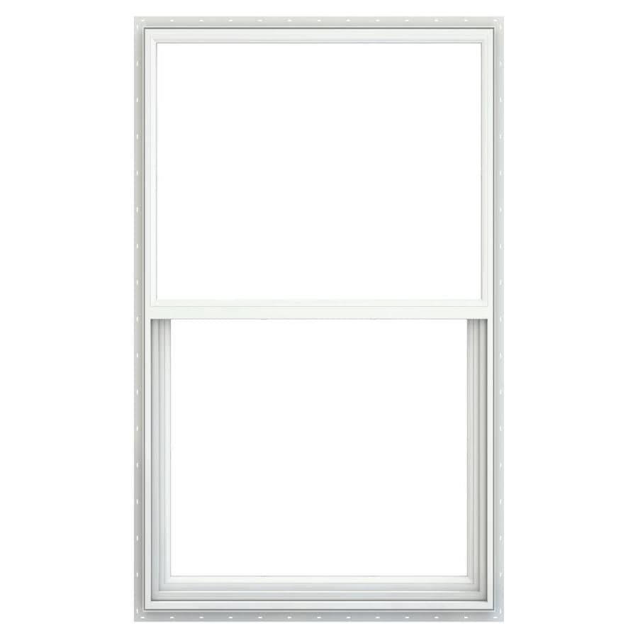 JELD-WEN Builders Vinyl Vinyl Double Pane Annealed Single Hung Window (Rough Opening: 36.25-in x 49.875-in; Actual: 35.75-in x 49.375-in)
