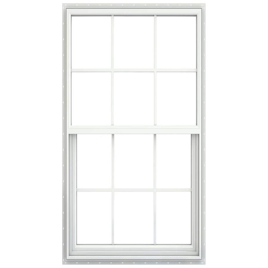 JELD-WEN Builders Vinyl Vinyl Double Pane Annealed Egress Single Hung Window (Rough Opening: 36.25-in x 62.25-in; Actual: 35.75-in x 61.75-in)