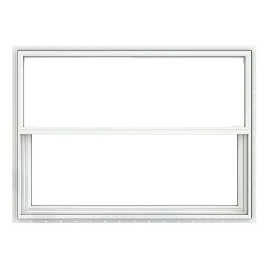 JELD-WEN Builders Vinyl Double Pane Annealed Single Hung Window (Rough Opening: 52.375-in x 37.625-in; Actual: 51.875-in x 37.125-in)