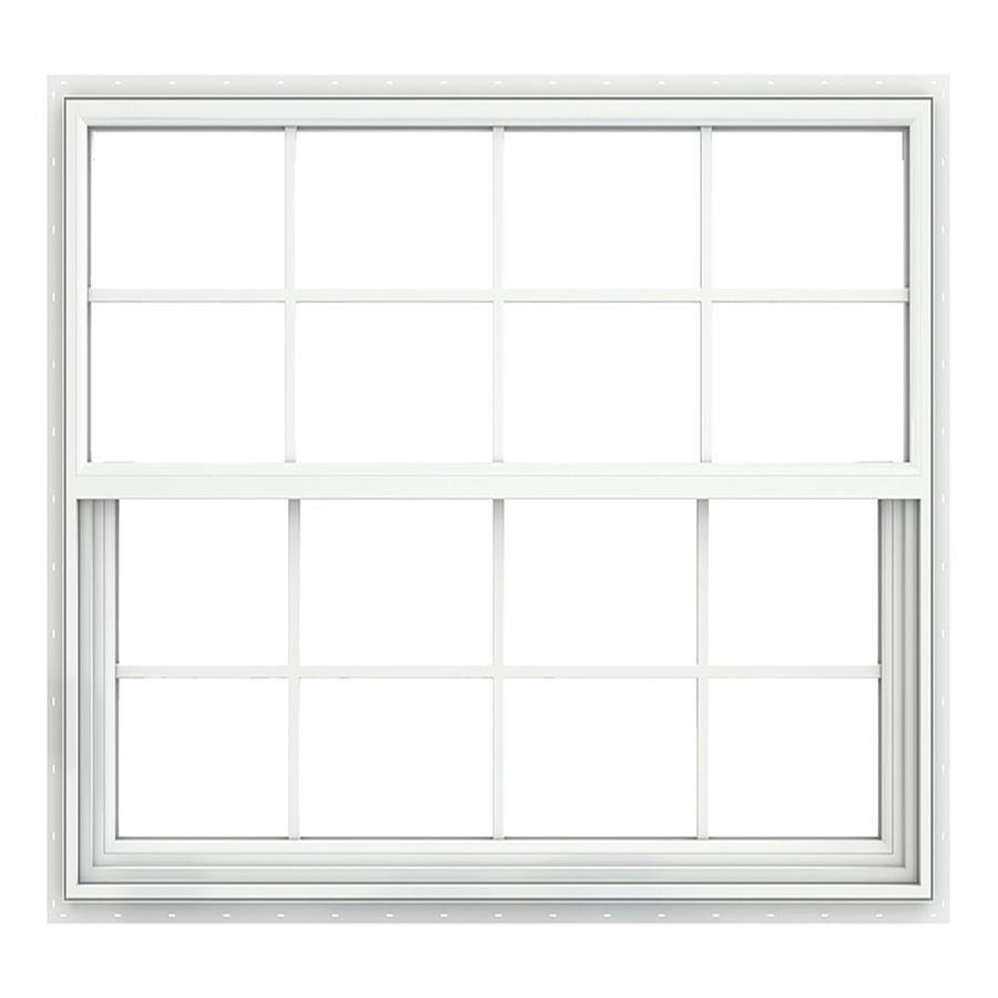 JELD-WEN Builders Vinyl Double Pane Annealed Single Hung Window (Rough Opening: 52.375-in x 49.875-in; Actual: 51.875-in x 49.375-in)