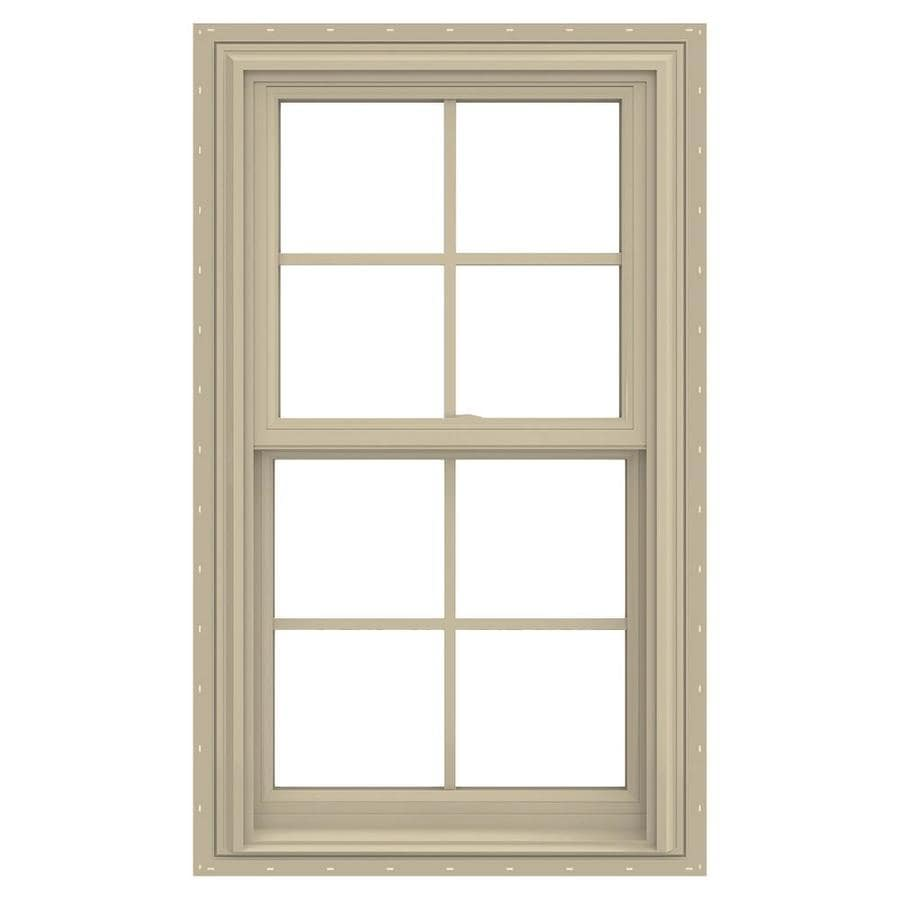 JELD-WEN V-2500 Vinyl Double Pane Annealed New Construction Double Hung Window (Rough Opening: 26-in x 54-in; Actual: 25.5-in x 53.5-in)