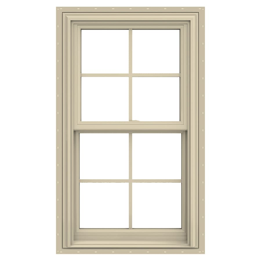 JELD-WEN V-2500 Vinyl Double Pane Annealed New Construction Double Hung Window (Rough Opening: 28-in x 54-in; Actual: 27.5-in x 53.5-in)