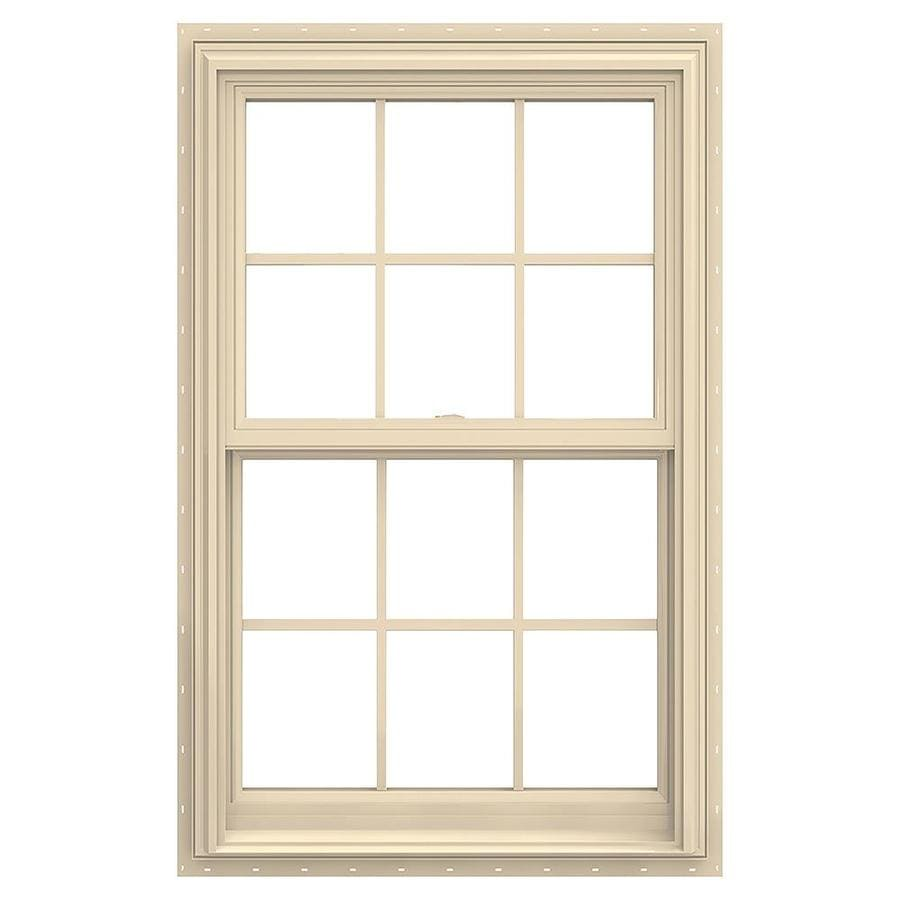 JELD-WEN V-2500 Vinyl Double Pane Annealed Double Hung Window (Rough Opening: 30-in x 48-in; Actual: 29.5-in x 47.5-in)