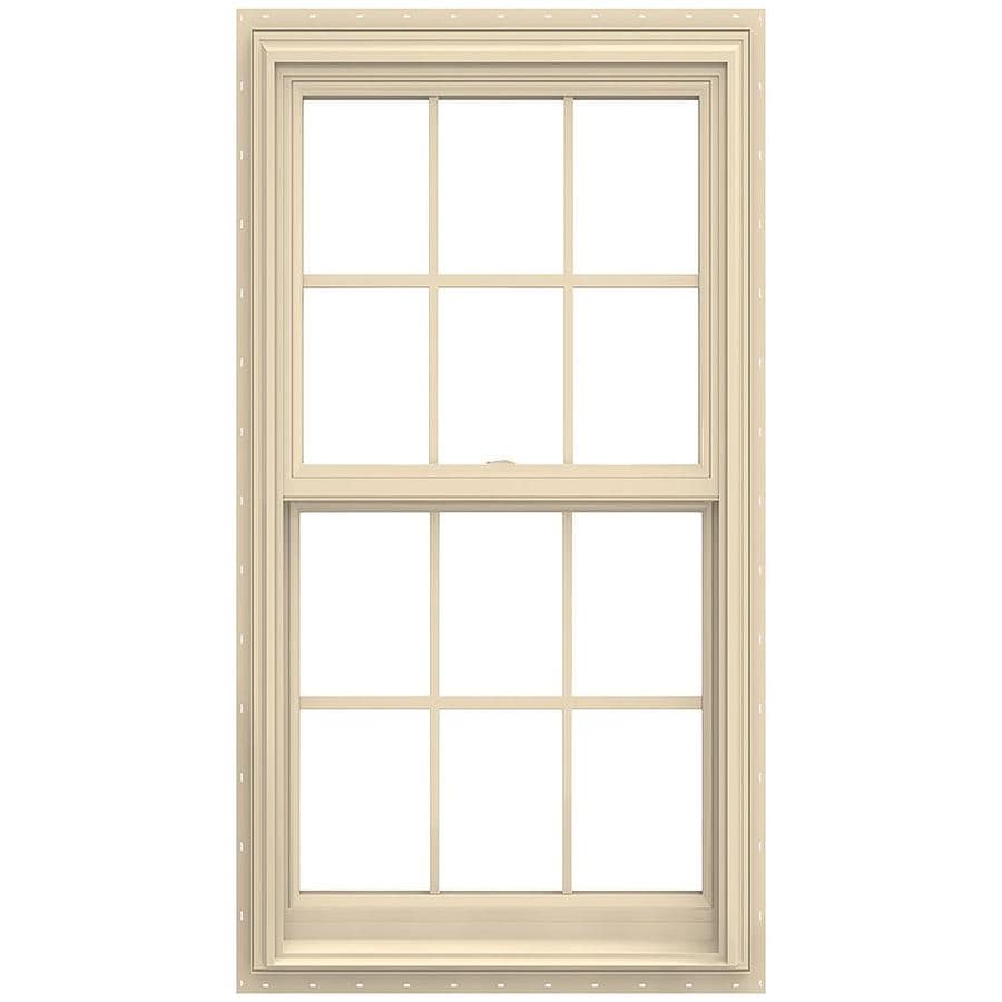 JELD-WEN V-2500 Vinyl Double Pane Annealed New Construction Double Hung Window (Rough Opening: 30-in x 54-in; Actual: 29.5-in x 53.5-in)