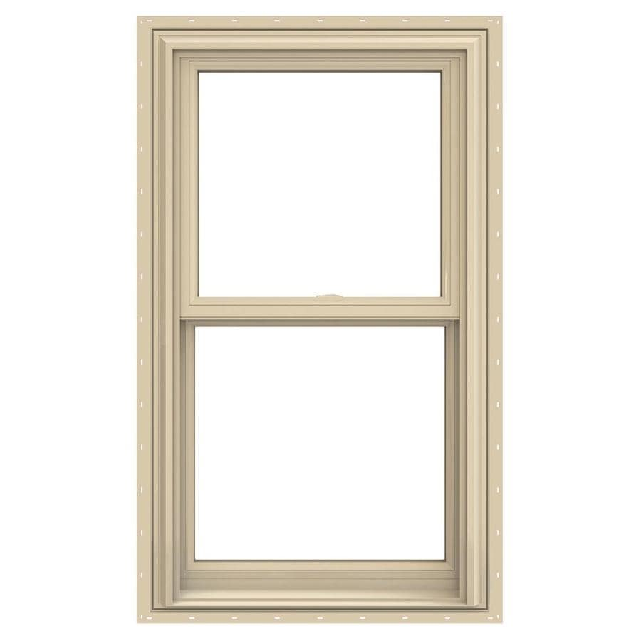 JELD-WEN V-2500 Vinyl Double Pane Annealed Double Hung Window (Rough Opening: 26-in x 54-in; Actual: 25.5-in x 53.5-in)