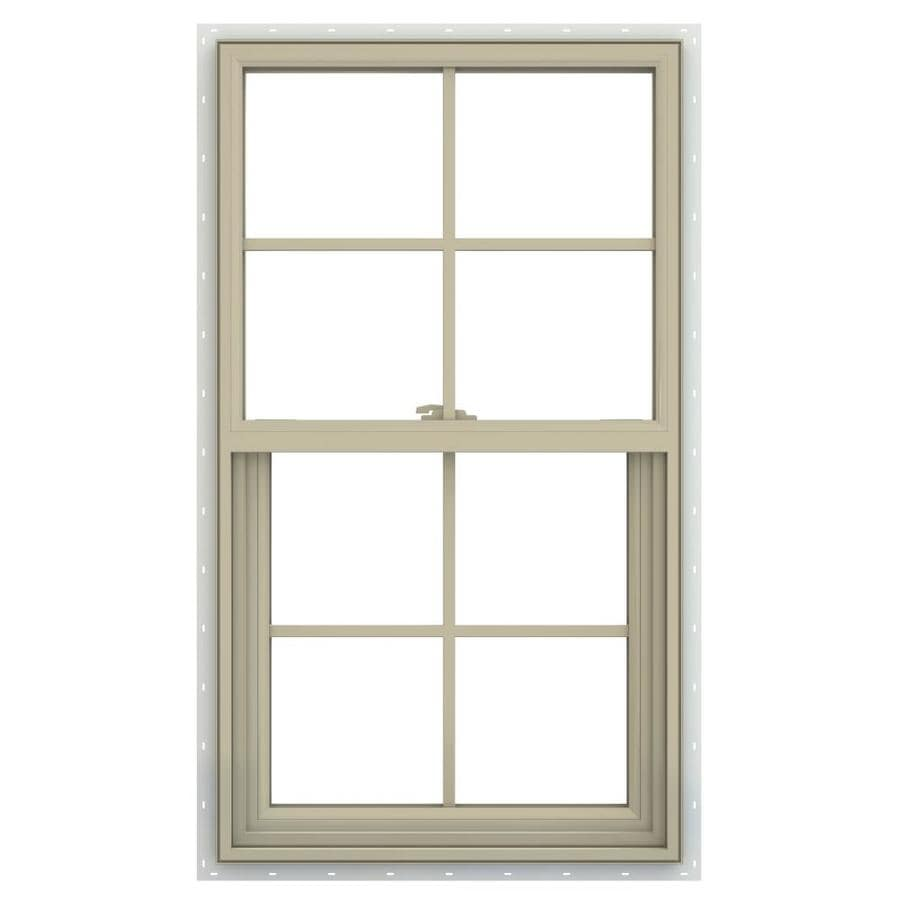 JELD-WEN V-2500 Vinyl Double Pane Annealed New Construction Single Hung Window (Rough Opening: 26-in x 41-in; Actual: 25.5-in x 40.5-in)