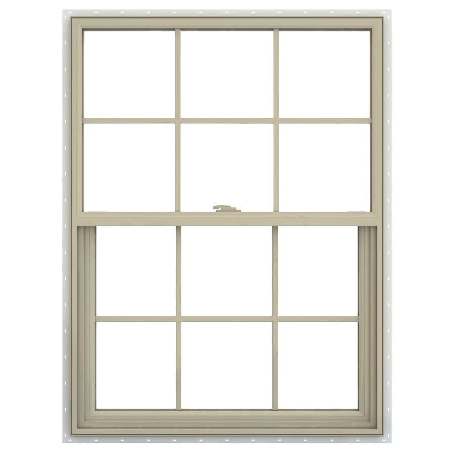 JELD-WEN V-2500 Vinyl Double Pane Annealed New Construction Single Hung Window (Rough Opening: 30-in x 41-in; Actual: 29.5-in x 40.5-in)