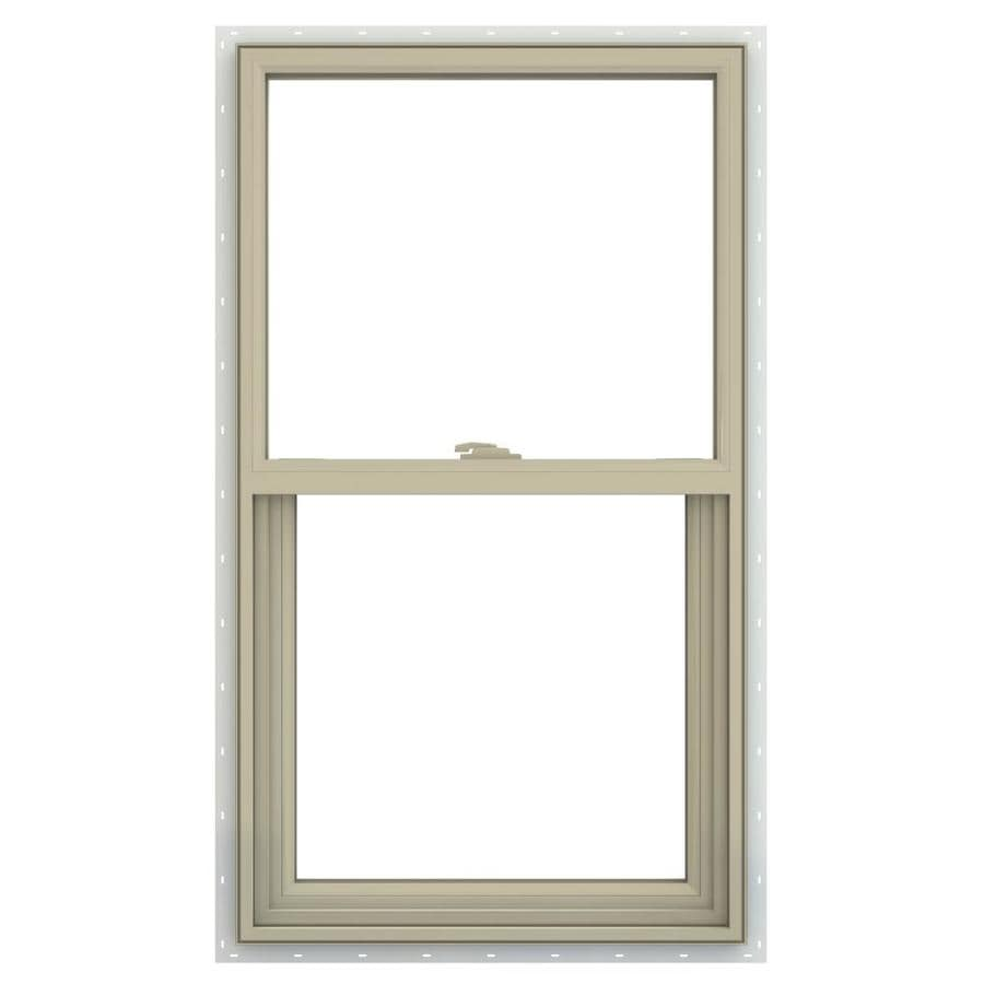 JELD-WEN V-2500 Vinyl Double Pane Annealed Single Hung Window (Rough Opening: 30-in x 48-in; Actual: 29.5-in x 47.5-in)