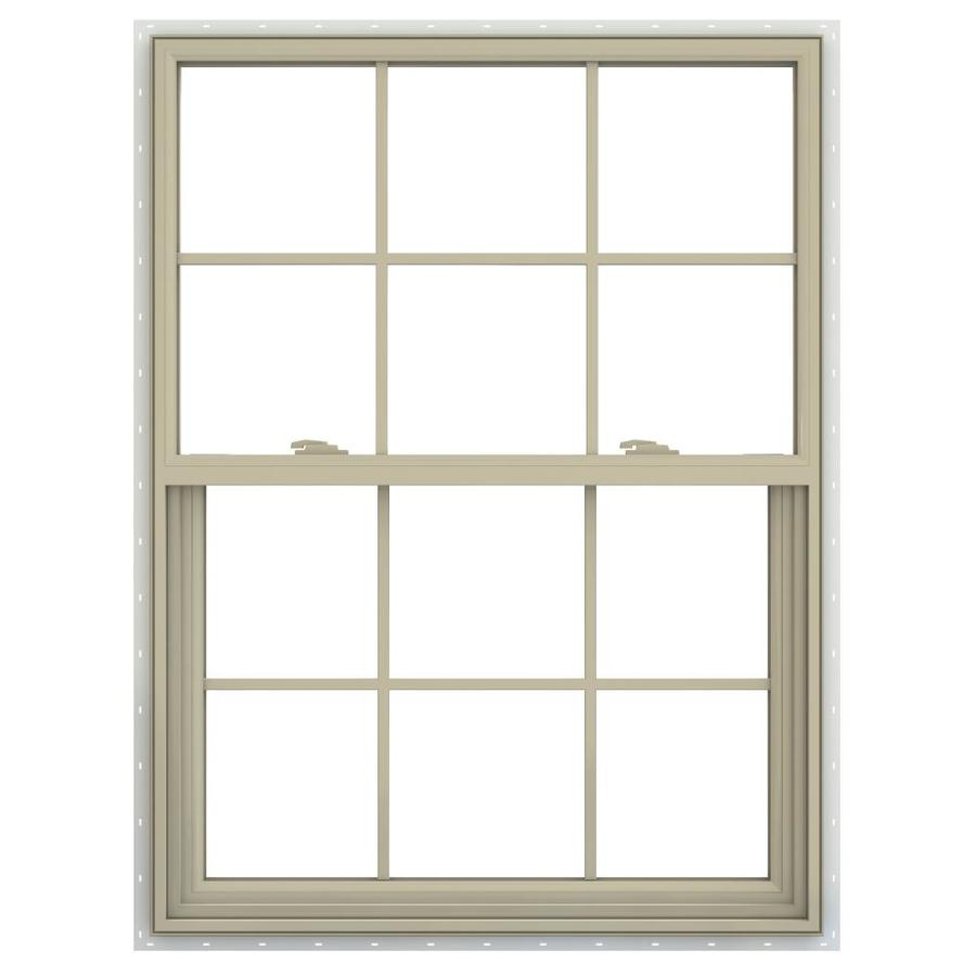 JELD-WEN V-2500 Vinyl Double Pane Annealed New Construction Single Hung Window (Rough Opening: 36-in x 54-in; Actual: 35.5-in x 53.5-in)