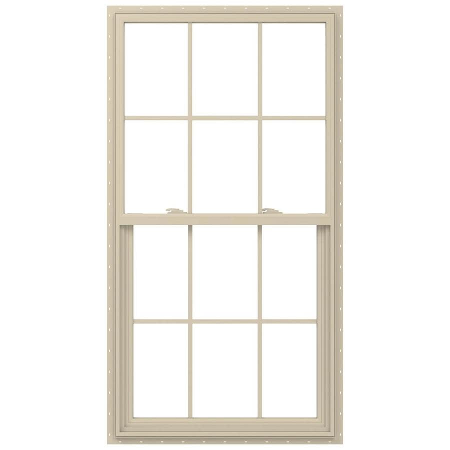 JELD-WEN V-2500 Vinyl Double Pane Annealed New Construction Single Hung Window (Rough Opening: 36-in x 60-in; Actual: 35.5-in x 59.5-in)