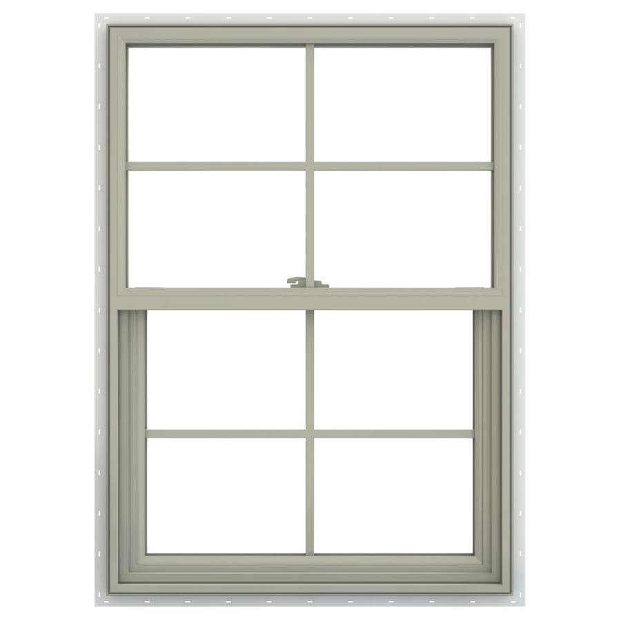 JELD-WEN V-2500 Vinyl Double Pane Annealed New Construction Single Hung Window (Rough Opening: 22-in x 33-in; Actual: 21.5-in x 32.5-in)