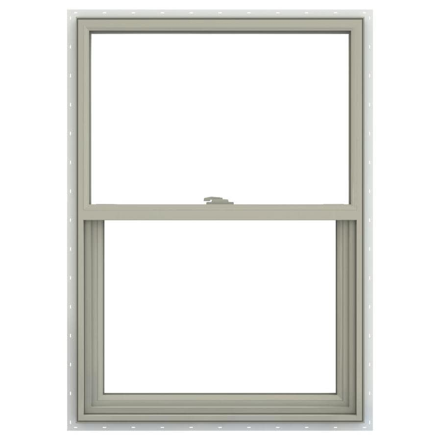JELD-WEN V-2500 Vinyl Double Pane Annealed Single Hung Window (Rough Opening: 24-in x 36-in; Actual: 23.5-in x 35.5-in)