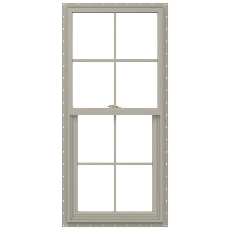 JELD-WEN V-2500 Vinyl Double Pane Annealed New Construction Single Hung Window (Rough Opening: 24-in x 48-in; Actual: 23.5-in x 47.5-in)