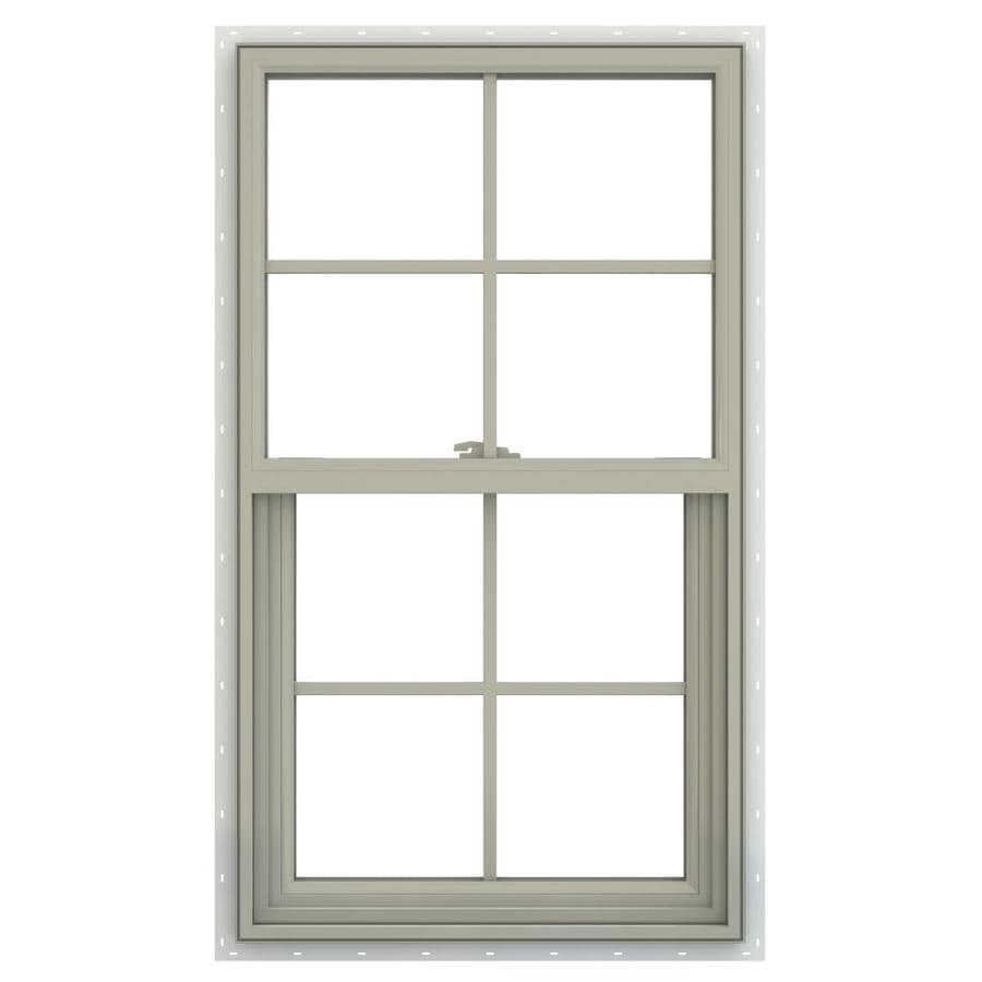 JELD-WEN V-2500 Vinyl Double Pane Annealed Single Hung Window (Rough Opening: 26-in x 41-in; Actual: 25.5-in x 40.5-in)