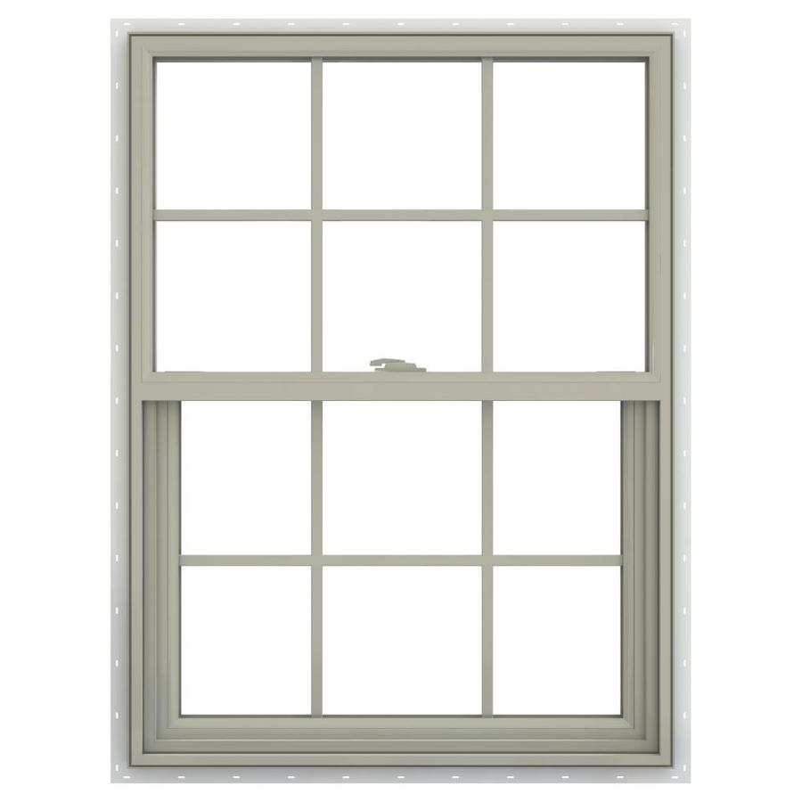 JELD-WEN V-2500 Vinyl Double Pane Annealed New Construction Single Hung Window (Rough Opening: 30-in x 36-in; Actual: 29.5-in x 35.5-in)